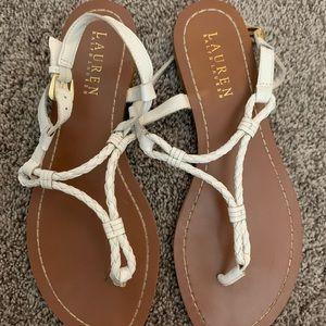 Ralph Lauren White Flat Sandal
